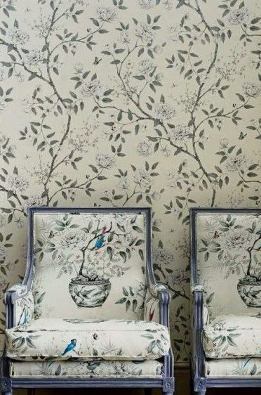 Romey's Garden fabric and wallpaper in situ