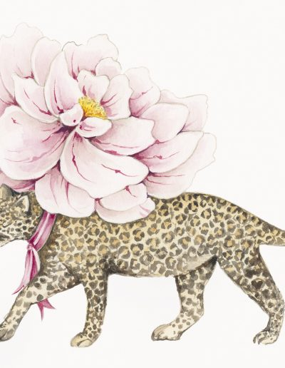 Leopard and Peony – design for silk handbag lining
