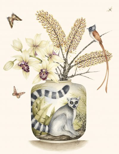 Ring-Tailed Lemur with Cymbidium Orchid - 2017 - SOLD (available as a print on request)